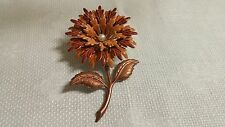 Vintage Tan Brown Copper Enameled Metal Chrysanthemum Flower Brooch Pin
