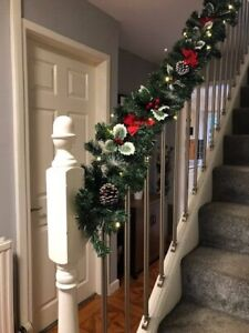 Pre Lit LED 1.8m & 2.7m Holly Fireplace Christmas Garland Swag Red Tartan