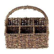 Vintage 6 Compartment Seagrass Cutlery Condiment Storage Holder Caddy Basket
