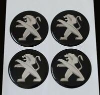 60mm PEUGEOT Felgenaufkleber Aufkleber Sticker Emblem Radkappen Silikon SCHWARZ