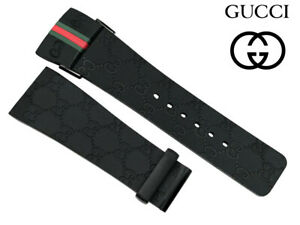 Gucci 26mm Black Rubber Wrist Watch Band Red & Green Flags For i Gucci YA114207