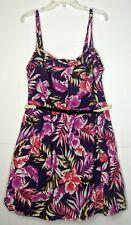 Torrid Purple Floral W/ Belt Sleeveless Tank Top Dress Women's Plus Size 24