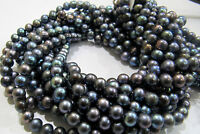 "AAA Quality Natural Pearl Black Color Beads , Size 6mm 16"" Strand, FREE SHIPPING"