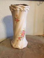 Cream White Vintage Porcelain Large Music Box Vase  Love Story Pink Roses