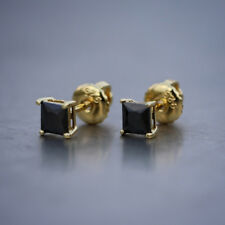 Men's Gold Black Diamond Princess Cut  Stud Earrings