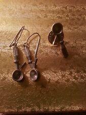 Jim Clift Pewter Ice Cream Scoop Pierced Earrings & Ice cream Scoop Lapel Pin