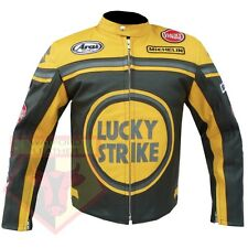 LUCKY STRIKE 0113 YELLOW MOTORBIKE MOTORCYCLE COWHIDE LEATHER ARMOURED JACKET
