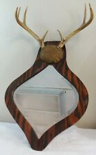 Beautiful Beveled Glass Mirror w/Painted Frame & 8 Point Deer Antlers 1940