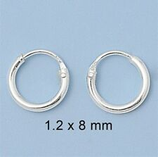 1.2 mm x 8 mm Usa Seller Super Small Mini Hoop Earrings Sterling Silver 925