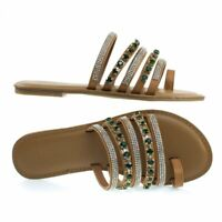 Women's Flat Crystal & Rhinestone Encrusted Straps Sandal Festival-09M By Bamboo