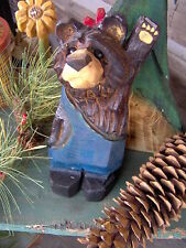 Chainsaw Bear Carving Wood Carved Bear Black Bear Carving in Blue Overalls