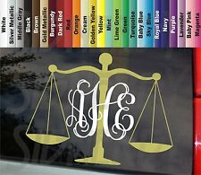 """Lady Scales of Justice Monogram Vine Initials Lawyer Attorney 7"""" Vinyl Car Decal"""