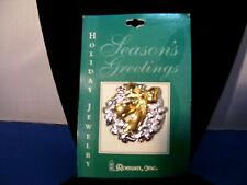 Christmas Pin Wreath Silver with Gold Bow By Roman Inc 3