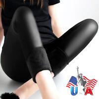 Women Leggings Winter Warm Pants Thick velvet Faux leather Leggings Trousers NEW
