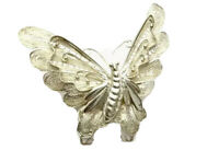 Vintage Ornate Silver Filigree Butterfly In Flight Brooch GIFT BOXED