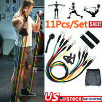 Resistance Bands 11piece Set Yoga Pilates Abs Exercise Fitness Tube Workout Band