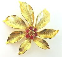 Vintage Brooch Pin Pointsettia Flower Red Rhinestones Jewelry Gold tone