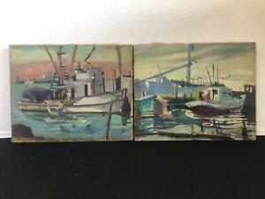 🔥 Antique California Plein Air Impressionist Oil Paintings (2) Disney - Leland
