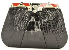 Judith leiber Art Deco Alligator Skin Evening Bag Crystal Rhine Black Enamel Red