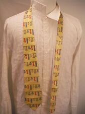 GARMENTS CLOTHES LINE CLOTHING Yellow Mens Wide Silk Neck Tie by TIECRAFTERS