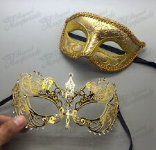 His & Her Couple Masquerade Mask, Gold themed Mask, Extravagant Mask