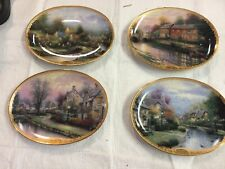 Thomas Kinkade Lamplight Village Oval Collector Plate Lot Of 4 Issue 1 Thru 4