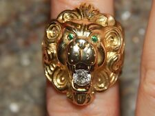 HEAVY & BOLD 14K YELLOW GOLD MENS DIAMOND & EMERALD LION RING  SIZE 9.5  20 GRAM