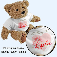 Personalised I Belong To Teddy Bear - Add Any Name - Gift Fairy Girl Cinderella