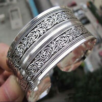 Men Women Unisex Tibetan Tibet silver Totem Bangle Cuff Bracelet Retro Jewellery