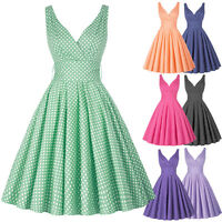 Vintage 50s Swing Pinup Masquerade Polka Dot Evening Party Gown Housewife Dress