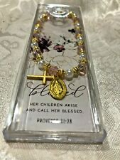 """MOTHER They Call Her Blessed ROSARY BRACELET""  Pearls/Pink MedalsFits all NEW"