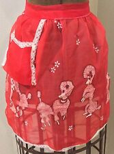 Vintage Apron Red Chiffon Poodle 50s Homemaker