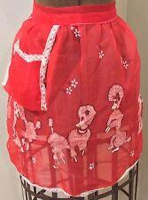 Vintage Apron Red Chiffon Poodle Print 1950s Homemaker Lace Trim