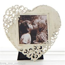 Vintage Shabby Chic Cream Lace LOVE HEART Metal Photo Picture Frame Wedding Gift