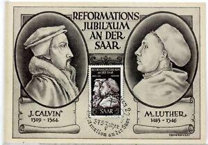 Calvin Luther France Germany 1951 Saarland Saar 1er Day Card Maximum FDC AC352