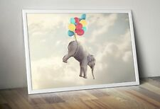 Floating ELEPHANT Print - A3, Nursery Baby Wall Decor Art Poster Picture