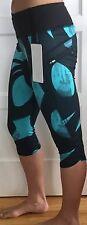 Lululemon Size 4 Run Top Speed Crop Pant Black Blue BSSX/BLK NWT Yoga Run GYM