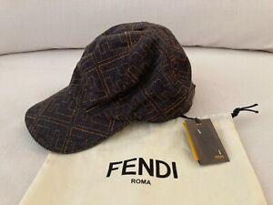 NWT FENDI Baseball JEANS Black Cap HAT Logo Embroidered M