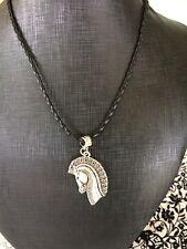 Horse Head Pendant Antique silver 3.5cm long 44cm - 49cm black cord Aus seller