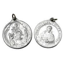 Ciondolo medaglia metallo argentato mm 22 con Madonna di Pompei e Sacro Cuore