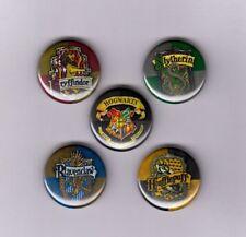 "HARRY POTTER / HOGWARTS LOGOS 1"" PINS / BUTTONS (slytherin gryffindor hufflepuff"