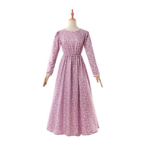 Girls Women's Pioneer Trek Pilgrims Frontier Prairie Colonial Maid Dress Costume