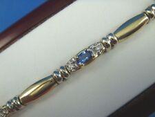 BEAUTIFUL 14K GOLD GENUINE TANZANITES AND DIAMONDS LADIES BRACELET, 15.2 GRAMS
