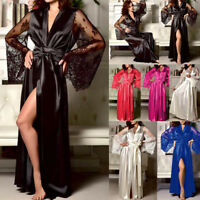 Women Satin Long Nightdress Silk Lace Lingerie Nightgown Sleepwear Sexy Robe New