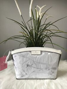 New Kate Spade sabine medium cosmetic pouch/ case optic white