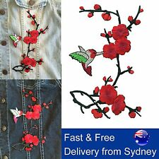 Red flower blossom iron on patch - sakura bird cherry blossom iron-on patches
