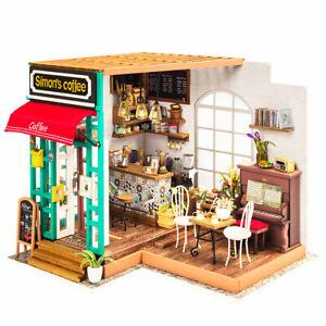 SAVE 7% Robotime DIY Miniature House Simon's Coffee DG109+Dust Cover BUNDLE