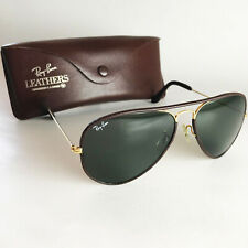 Vintage Ray Ban B&L AVIATOR LEATHERS Sunglasses gold pilot 58mm classic metal