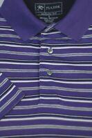 Jos A Bank Men's Leadbetter Purple Stripe Cotton Polo Golf Casual Shirt L Large