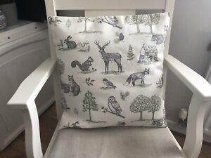 "Handmade Ivory Deer, Fox, Animal, Country Print Envelope Back Cushion Cover 17"""
